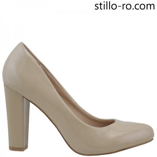 Pantofi de dama eleganti cu toc inalt din lac bej - 26006