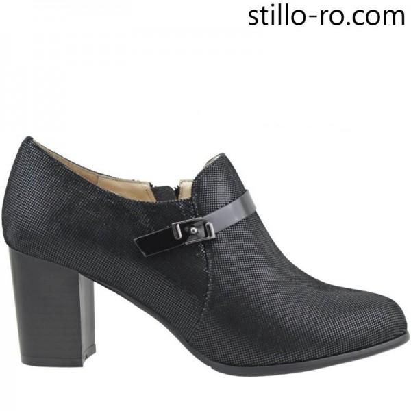 Pantofi de dama din velur natural pe toc mediu - 26097