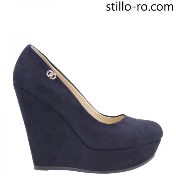 Pantofi de dama pe platforma inalta din velur albastru- 26172