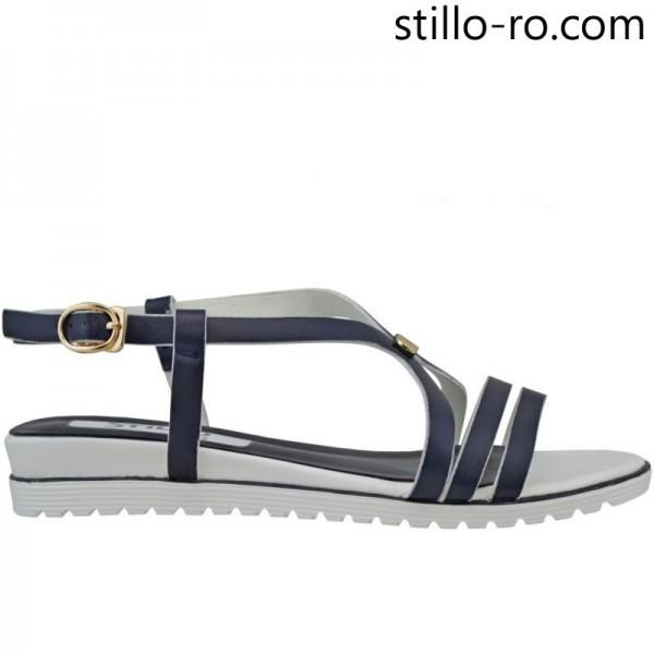 Sandale plate in albastru si alb - 26866