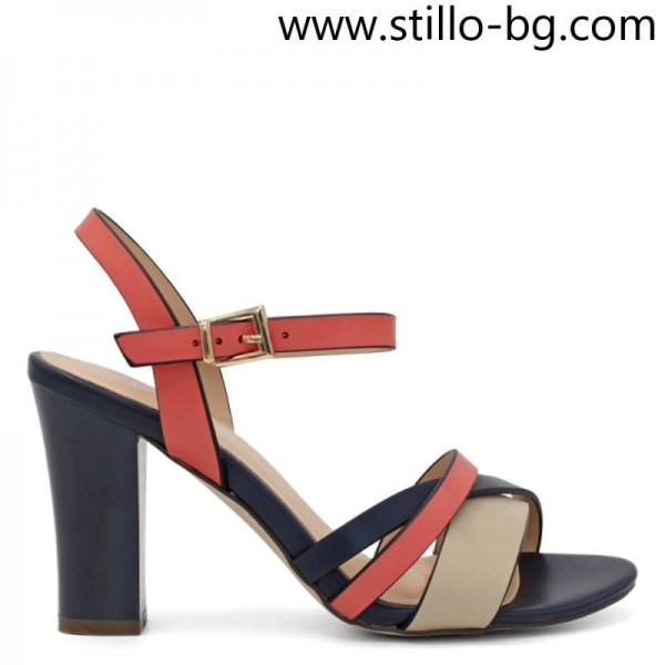 Sandale dama cu toc inalt, de culoare roz, bej si albastra - 28750