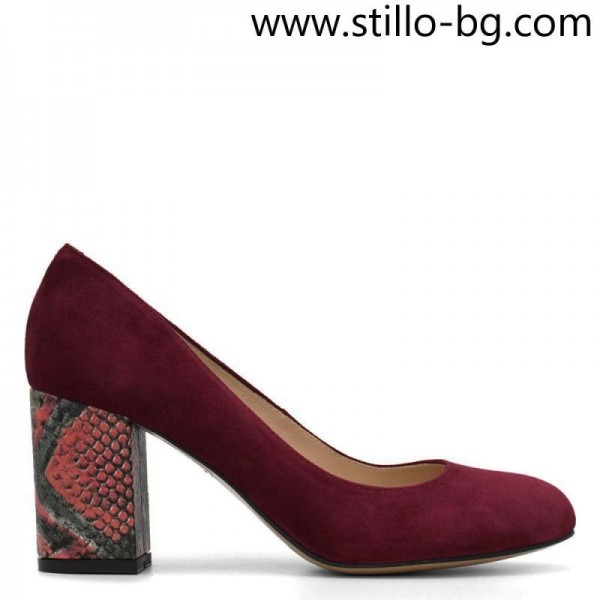 Pantofi de dama velur in bordo, cu toc pestrit - 28859