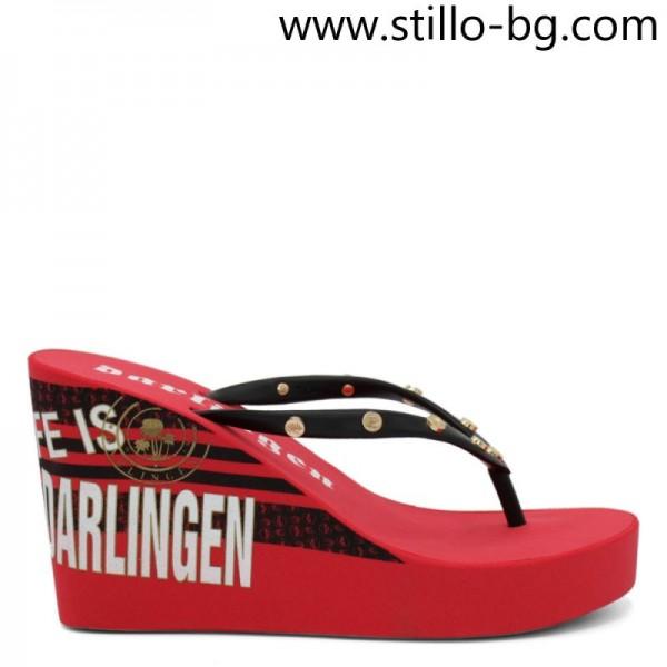 Papuci dama rosii cu platforma - 29140