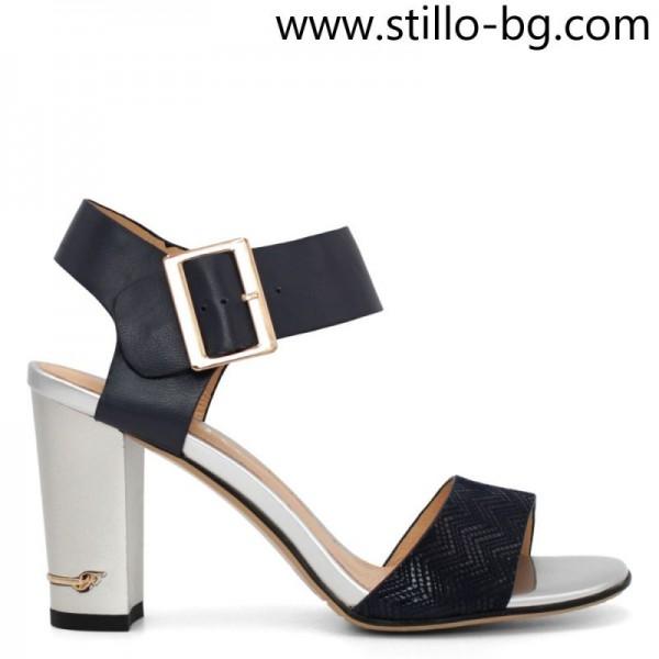Sandale de piele in albastru cu toc inalt, masuri mici - 29146