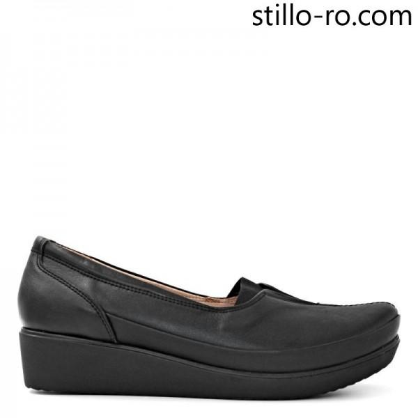 Pantofi de dama din piele naturala pe platforma - 29170