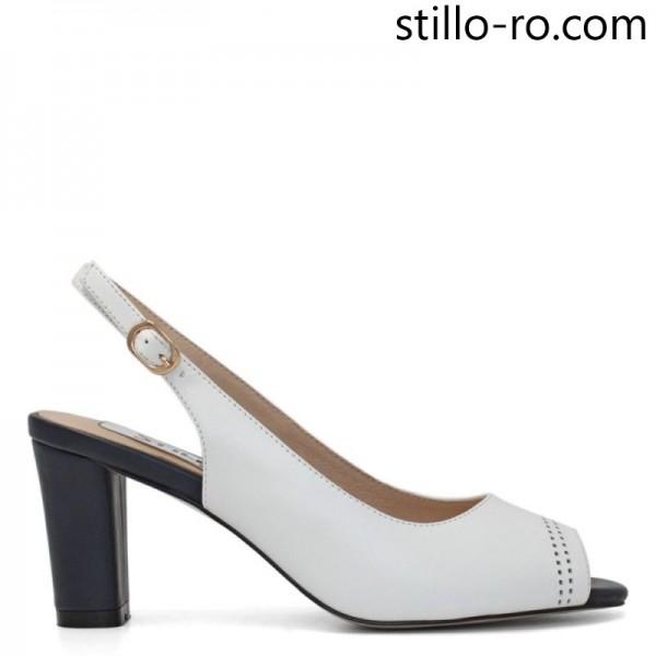 Sandale albe din piele cu toc albastru inalt - 29175