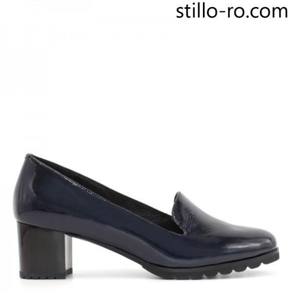 Pantofi de dama din piele in bleumarin pe toc mediu - 29185