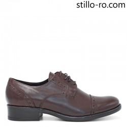 Pantofi de damă cu perforație elvețiană, din piele naturală - 29192
