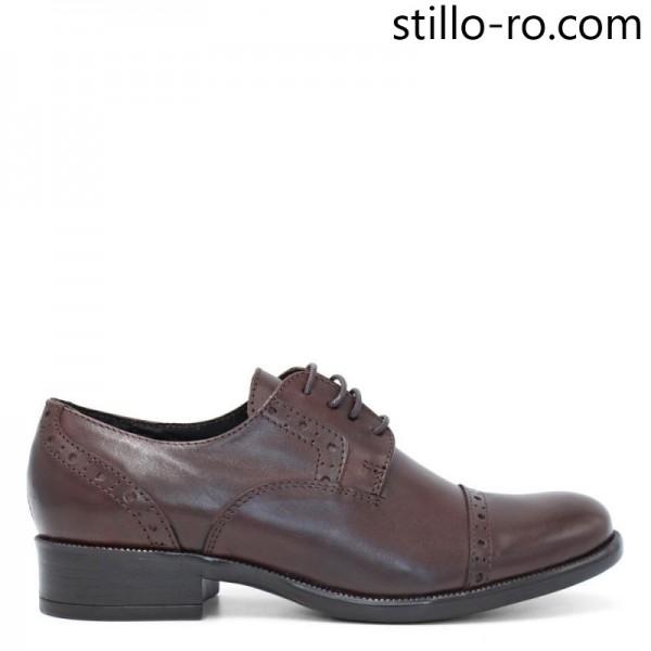 Pantofi de dama cu perforatie elvetiana, din piele naturala - 29192