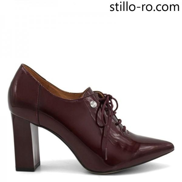 Pantofi de dama CAPRICE din lac natural bordo pe toc inalt - 29214