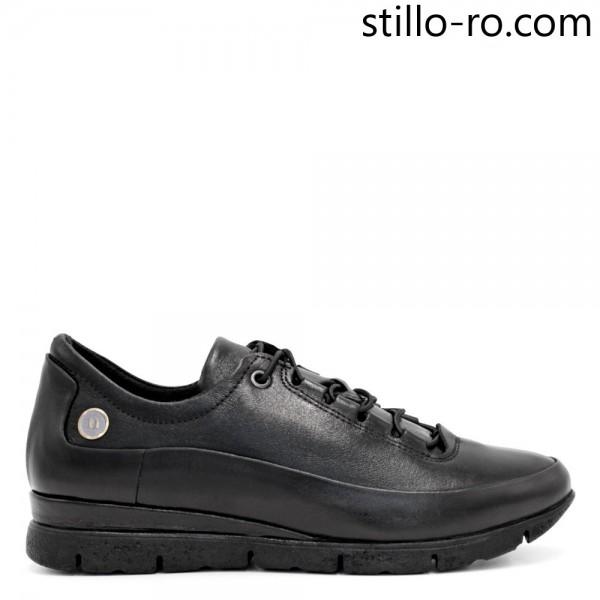 Pantofi sport de dama, din piele naturala neagra - 29234
