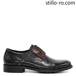 Pantofi de barbat, cu stil, din piele naturala neagra si maro - 29285