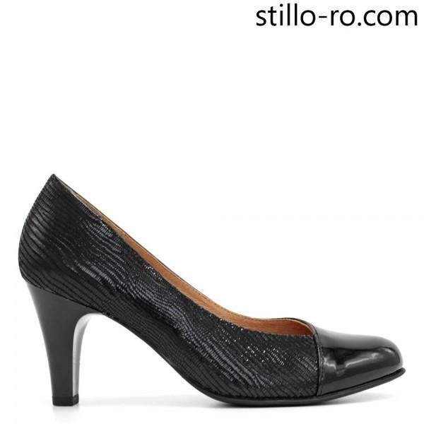 Pantofi stilati de dama CAPRICE, de culoare neagra, pe toc inalt - 29299