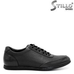 Pantofi sport-eleganti de barbat, din piele naturala neagra - 29325