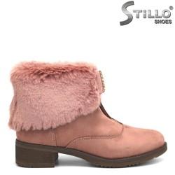 Botine dama din velur roz si puf roz - 29344