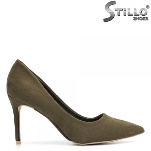 Pantofi de dama verde inchis,pe un toc inalt subtire - 29369