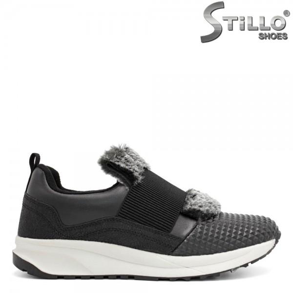 Pantofi negri sport, cu elastic si puf gri - 29378