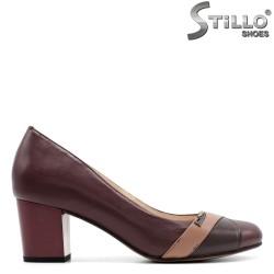 Pantofi din piele bordo pe toc mediu - 29441