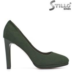 Pantofi cu stil, de culoare verde închis, pe toc înalt - 29442