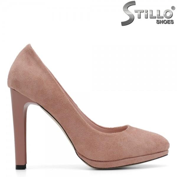 Pantofi roz pe toc inalt subtire, cu platforma - 29444