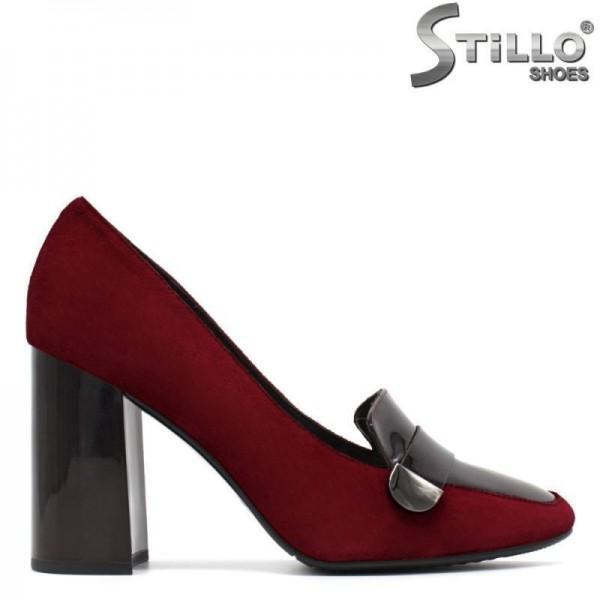 Pantofi de dama de culoare bordo, pe toc inalt - 29452