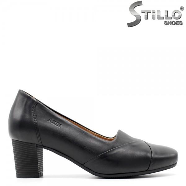 Pantofi de dama din piele naturala si toc mediu - 29465