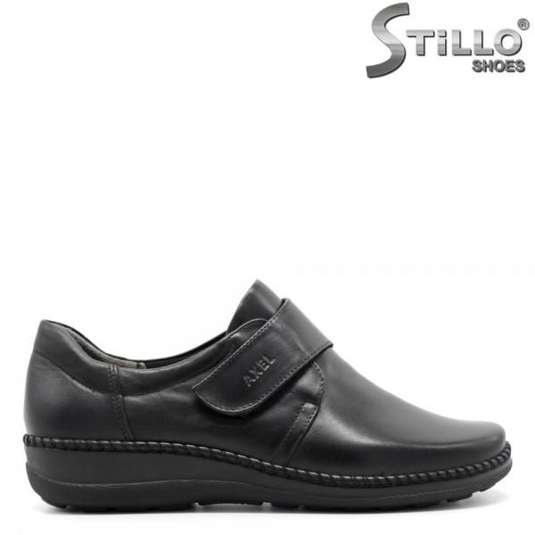 Pantofi negri comfortbili din piele naturala si arici - 29467