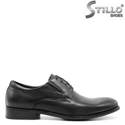 Pantofi de barbat din piele naturala neagra, cu sireturi - 29470