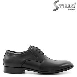 Pantofi eleganti de barbat din piele naturala neagra, cu sireturi - 29471