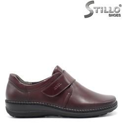 Pantofi anatomici bordo, din piele naturală - 29473