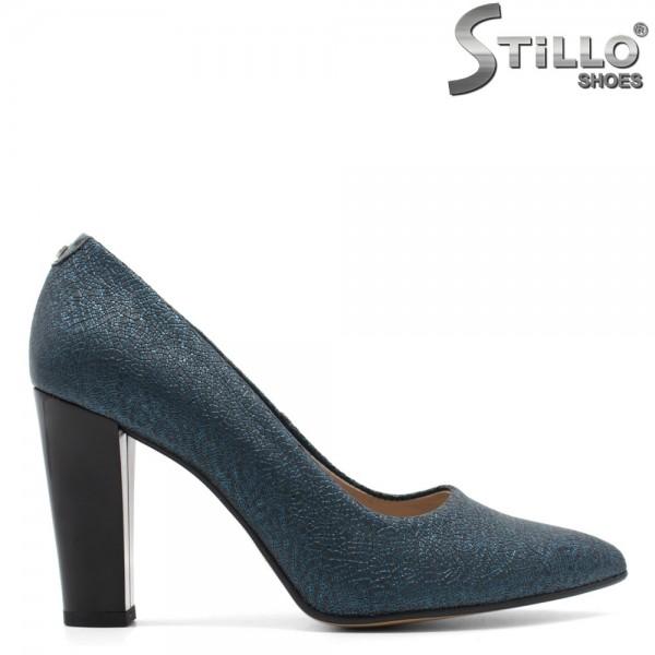 Pantofi pe toc inalt si lat, din piele naturala turcoaz perlat - 29478