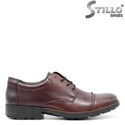 Pantofi de barbat RIEKER din piele naturala maro, cu sireturi, masura pana la №47 - 29501