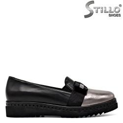 Pantofi de dama cu platforma plata de culoare argintiu si negru - 29575