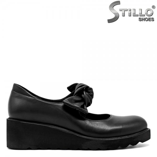 Pantofi de dama din piele naturala neagra pe platforma- 29587