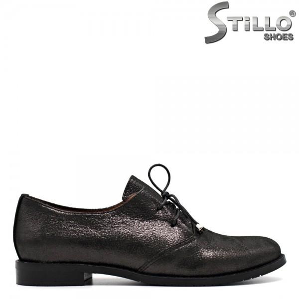 Pantofi de dama din piele naturala cu sireturi si toc mic - 29621
