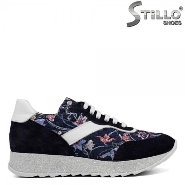 Pantofi tip sport din velur de culoare albastru si combinatie textil cu desen flori - 30057