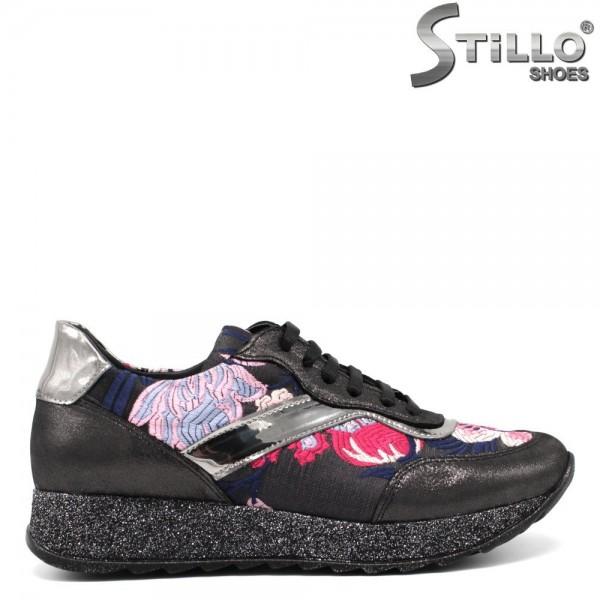 Pantofi de dama tip sport cu broderie flori- 30059