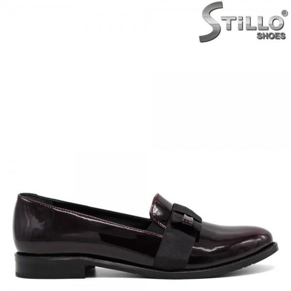 Pantofi de dama din lac natural de culoare bordo inchis - 30061