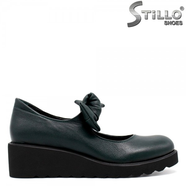 Pantofi de dama din piele naturala de culoare verde - 30072