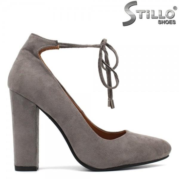 Pantofi de culoare gri cu toc inalt si cu sireturi la glezna - 30079