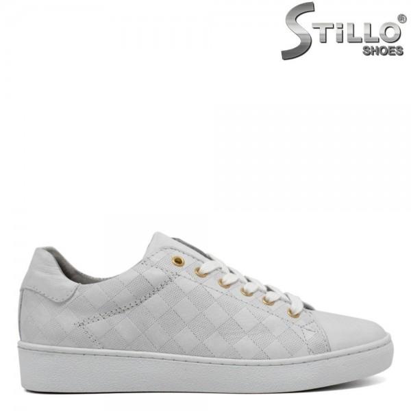 Pantofi de dama tip sport din piele naturala de culoare alba - 30084
