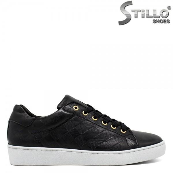 Pantofi de dama tip sport din piele naturala de culoare negru - 30085