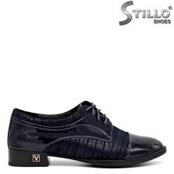 Pantofi cu sireturi din piele de culoare albastru,marimi mici - 30091