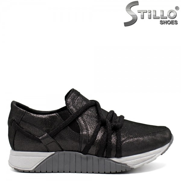 Pantofi tip sport eleganti cu sireturi decorative - 30142