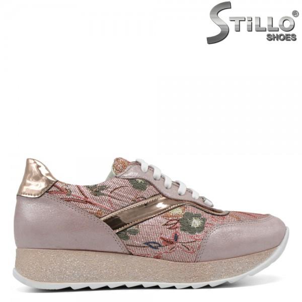 Pantofi tip sport de culoare roz cu desen flori - 30166