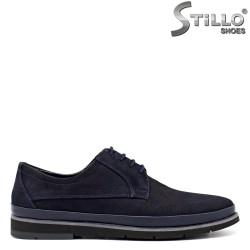 Pantofi barbatesti de culoare albastru cu sireturi - 30175