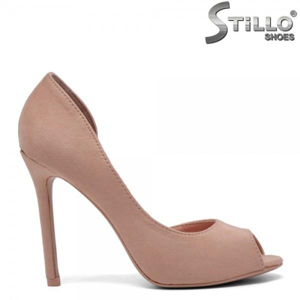 Pantofi decupati in fata de culoare roz cu toc inalt - 30200