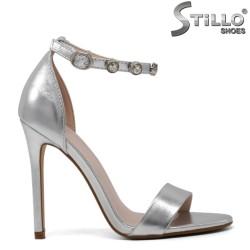 Sandale argintii cu toc inalt - 30227