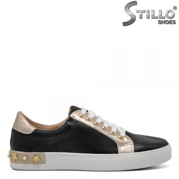 Pantofi tip sport cu toc mic de culoare - 30237