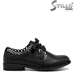 Pantofi moderni cu capse si sireturi din saten - 30243
